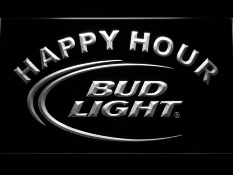 Bud Light Happy Hour LED Neon Sign - White - SafeSpecial