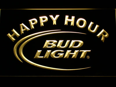 Bud Light Happy Hour LED Neon Sign - Yellow - SafeSpecial