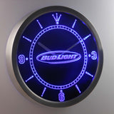 Bud Light Horizontal LED Neon Wall Clock - Blue - SafeSpecial