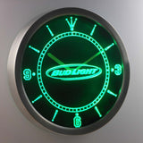Bud Light Horizontal LED Neon Wall Clock - Green - SafeSpecial