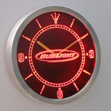Bud Light Horizontal LED Neon Wall Clock - Red - SafeSpecial