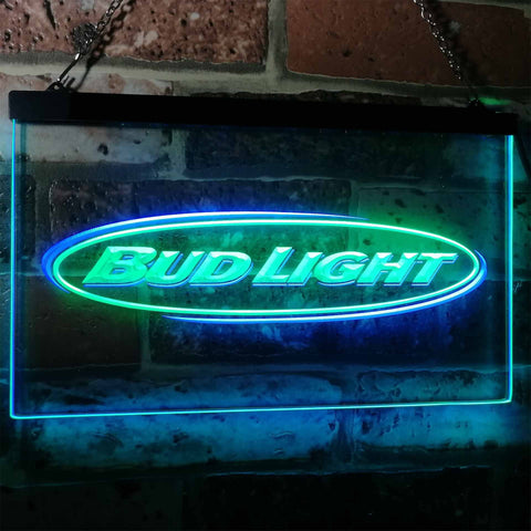Bud Light Horizontal Neon-Like LED Sign - Dual Color - Green and Blue - SafeSpecial