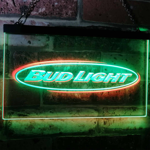Bud Light Horizontal Neon-Like LED Sign - Dual Color - Green and Red - SafeSpecial