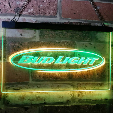 Bud Light Horizontal Neon-Like LED Sign - Dual Color - Green and Yellow - SafeSpecial