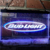 Bud Light Horizontal Neon-Like LED Sign - Dual Color - White and Blue - SafeSpecial