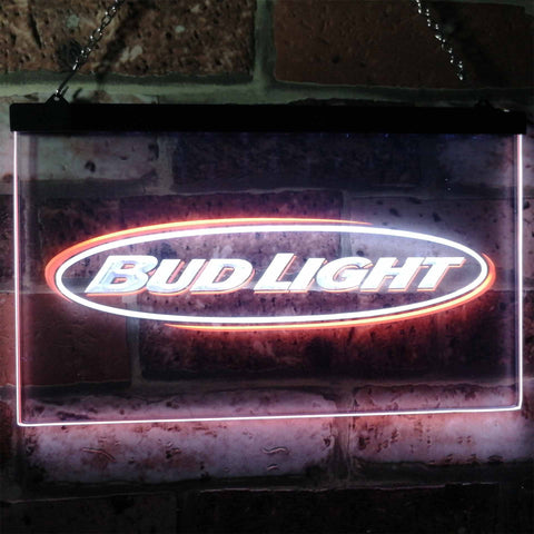 Bud Light Horizontal Neon-Like LED Sign - Dual Color - White and Orange - SafeSpecial