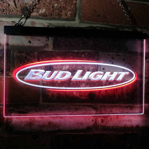 Bud Light Horizontal Neon-Like LED Sign - Dual Color - White and Red - SafeSpecial