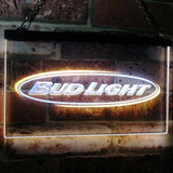 Bud Light Horizontal Neon-Like LED Sign - Dual Color - White and Yellow - SafeSpecial