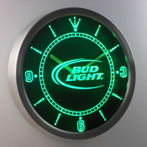 Bud Light LED Neon Wall Clock - Green - SafeSpecial