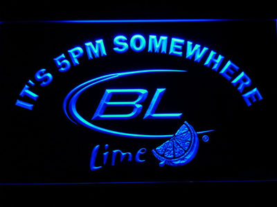 Bud Light Lime It's 5pm Somewhere LED Neon Sign - Blue - SafeSpecial