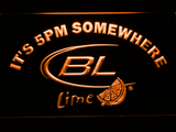 Bud Light Lime It's 5pm Somewhere LED Neon Sign - Orange - SafeSpecial