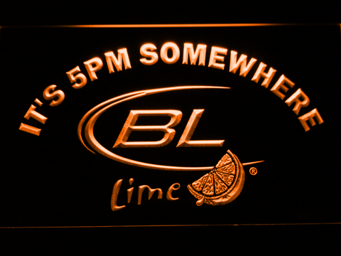 Image of Bud Light Lime It's 5pm Somewhere LED Neon Sign - Orange - SafeSpecial