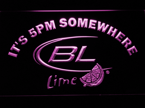 Image of Bud Light Lime It's 5pm Somewhere LED Neon Sign - Purple - SafeSpecial