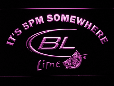 Bud Light Lime It's 5pm Somewhere LED Neon Sign - Purple - SafeSpecial