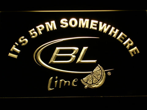Image of Bud Light Lime It's 5pm Somewhere LED Neon Sign - Yellow - SafeSpecial