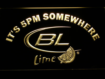 Bud Light Lime It's 5pm Somewhere LED Neon Sign - Yellow - SafeSpecial