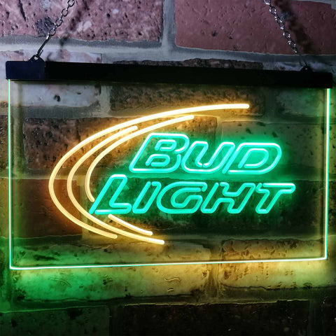Bud Light Logo 1 Neon-Like LED Sign - Dual Color - Green and Yellow - SafeSpecial