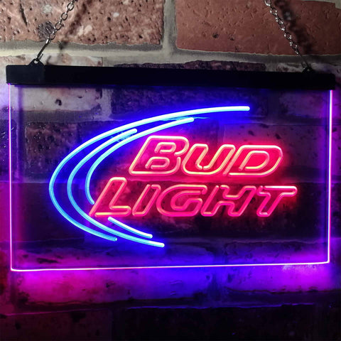 Bud Light Logo 1 Neon-Like LED Sign - Dual Color - Red and Blue - SafeSpecial