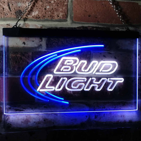 Bud Light Logo 1 Neon-Like LED Sign - Dual Color - White and Blue - SafeSpecial