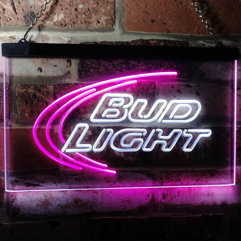 Bud Light Logo 1 Neon-Like LED Sign - Dual Color - White and Purple - SafeSpecial