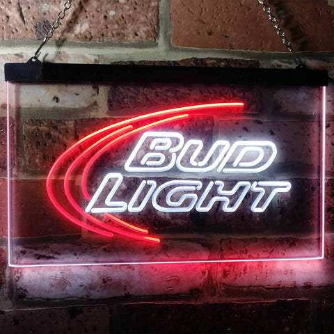 Bud Light Logo 1 Neon-Like LED Sign - Dual Color - White and Red - SafeSpecial