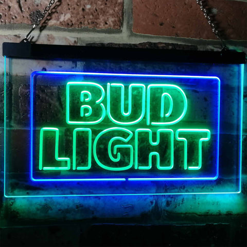 Bud Light Logo 2 Neon-Like LED Sign - Dual Color - Green and Blue - SafeSpecial