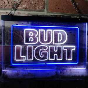 Bud Light Logo 2 Neon-Like LED Sign - Dual Color - White and Blue - SafeSpecial