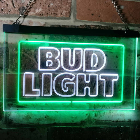 Bud Light Logo 2 Neon-Like LED Sign - Dual Color - White and Green - SafeSpecial
