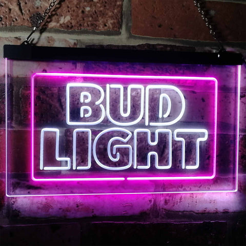Bud Light Logo 2 Neon-Like LED Sign - Dual Color - White and Purple - SafeSpecial