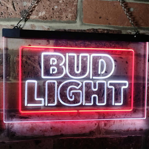 Bud Light Logo 2 Neon-Like LED Sign - Dual Color - White and Red - SafeSpecial