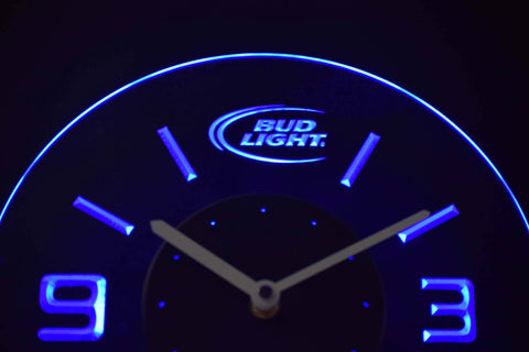 Image of Bud Light Modern LED Neon Wall Clock - Blue - SafeSpecial