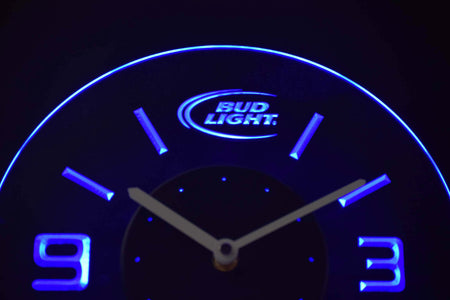 Bud Light Modern LED Neon Wall Clock - Blue - SafeSpecial