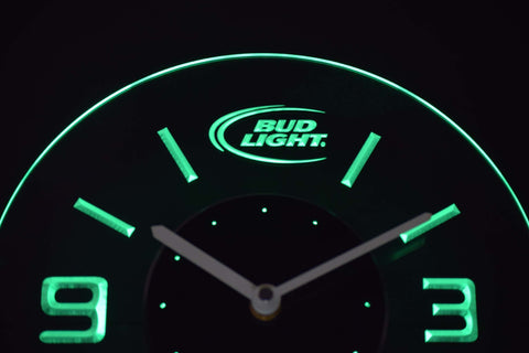 Image of Bud Light Modern LED Neon Wall Clock - Green - SafeSpecial