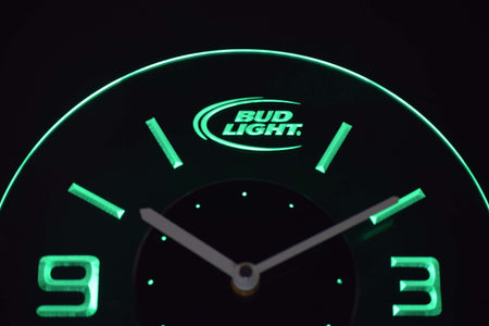 Bud Light Modern LED Neon Wall Clock - Green - SafeSpecial