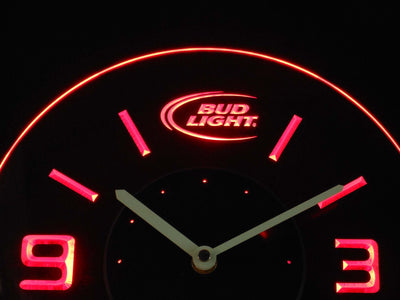 Bud Light Modern LED Neon Wall Clock - Red - SafeSpecial