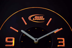 Bud Light Modern LED Neon Wall Clock - Yellow - SafeSpecial