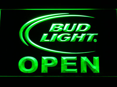 Bud Light Open LED Neon Sign - Green - SafeSpecial