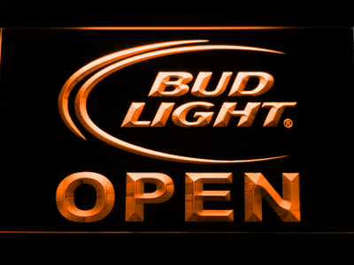 Bud Light Open LED Neon Sign - Orange - SafeSpecial