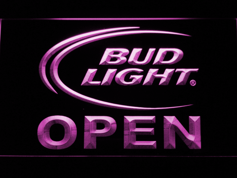 Image of Bud Light Open LED Neon Sign - Purple - SafeSpecial