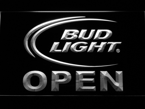 Image of Bud Light Open LED Neon Sign - White - SafeSpecial