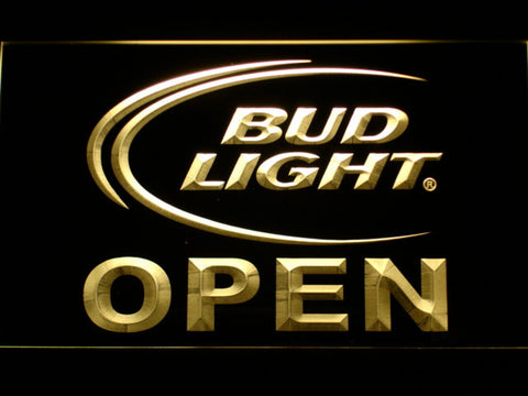 Image of Bud Light Open LED Neon Sign - Yellow - SafeSpecial
