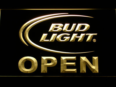 Bud Light Open LED Neon Sign - Yellow - SafeSpecial
