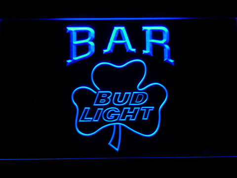 Image of Bud Light Shamrock Bar LED Neon Sign - Blue - SafeSpecial