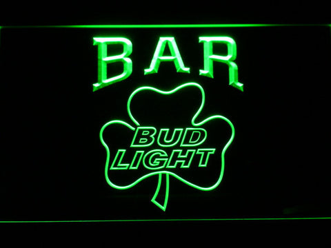 Image of Bud Light Shamrock Bar LED Neon Sign - Green - SafeSpecial