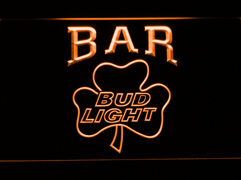 Image of Bud Light Shamrock Bar LED Neon Sign - Orange - SafeSpecial