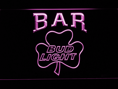 Image of Bud Light Shamrock Bar LED Neon Sign - Purple - SafeSpecial