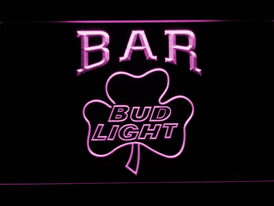 Bud Light Shamrock Bar LED Neon Sign - Purple - SafeSpecial