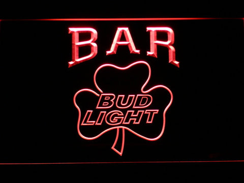 Image of Bud Light Shamrock Bar LED Neon Sign - Red - SafeSpecial