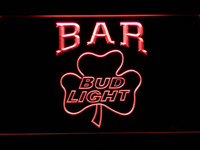 Bud Light Shamrock Bar LED Neon Sign - Red - SafeSpecial