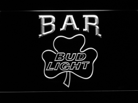 Bud Light Shamrock Bar LED Neon Sign - White - SafeSpecial